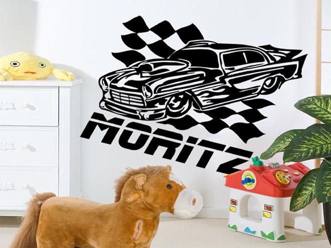 rennwagen wandtattoo rennwagen auto bei. Black Bedroom Furniture Sets. Home Design Ideas