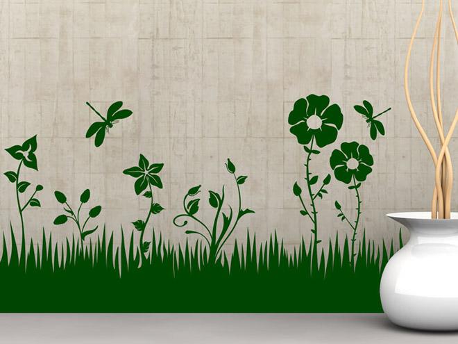Wandtattoo Silber Blumen : Wandtattoo Blumen Wiese mit Libellen  Wandtattoosde