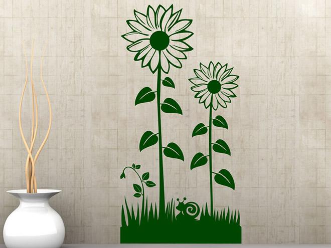 Wandtattoo Blumen Wiese mit Sonnenblumen  Wandtattoosde