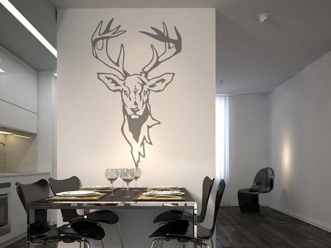 wandtattoo hirschkopf mit geweih. Black Bedroom Furniture Sets. Home Design Ideas