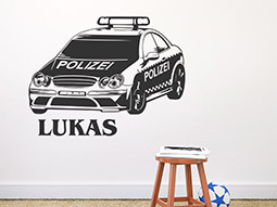 Wandtattoo Polizeiauto mit Name