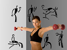 Wandtattoo Fitnessstudio Set Hantel-Training
