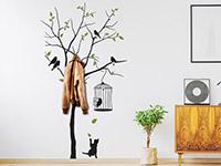 wandtattoo garderobe baum mit v geln. Black Bedroom Furniture Sets. Home Design Ideas
