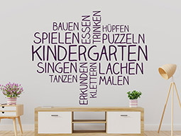 Wandtattoo Kindergarten Wortwolke