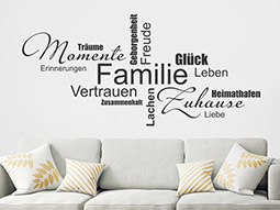 Wandtattoo Familie in Worten
